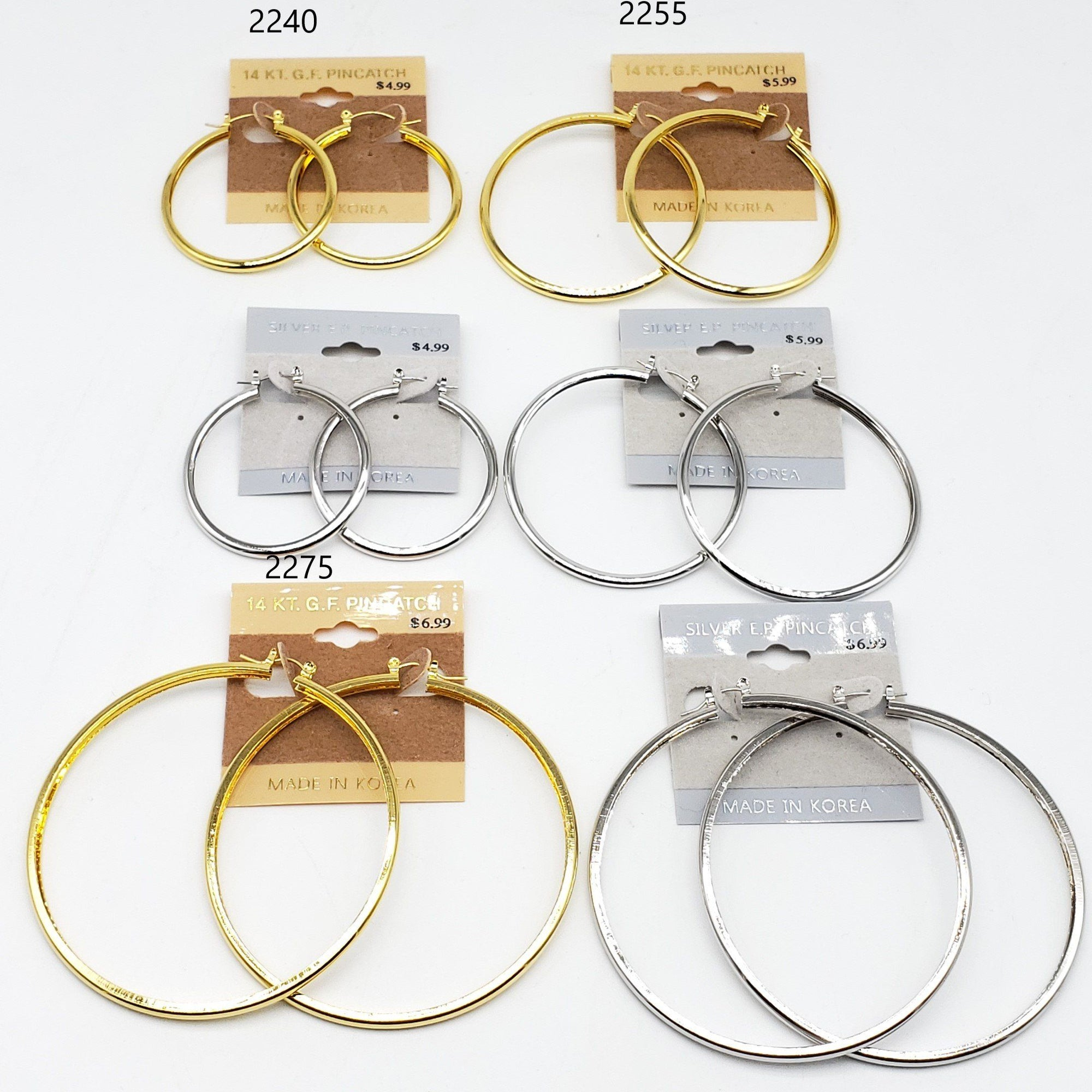 Gold/Silver Hoop Earrings #2240-2255-2275 (PC)