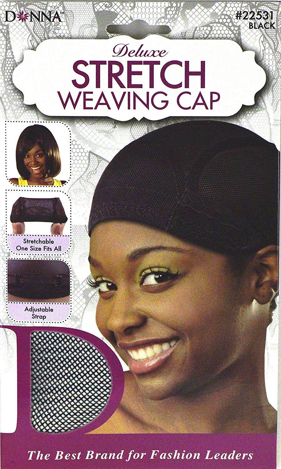 Donna Deluxe Stretch Weaving Cap Black #22531 (12PC)