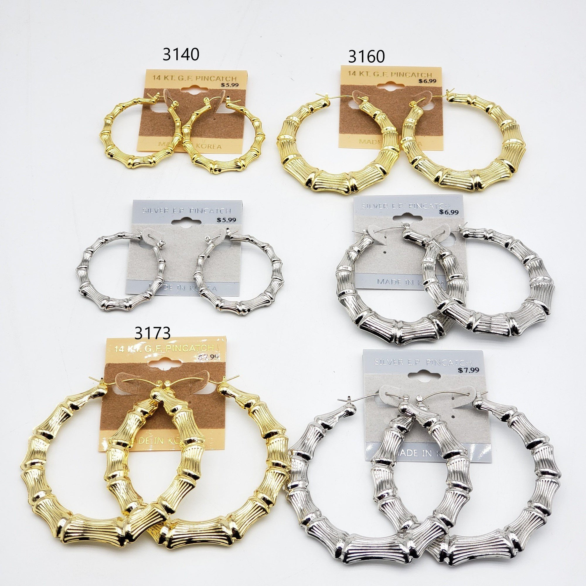 Gold/Silver Hoop Earrings #3140-3160-3173 (PC)