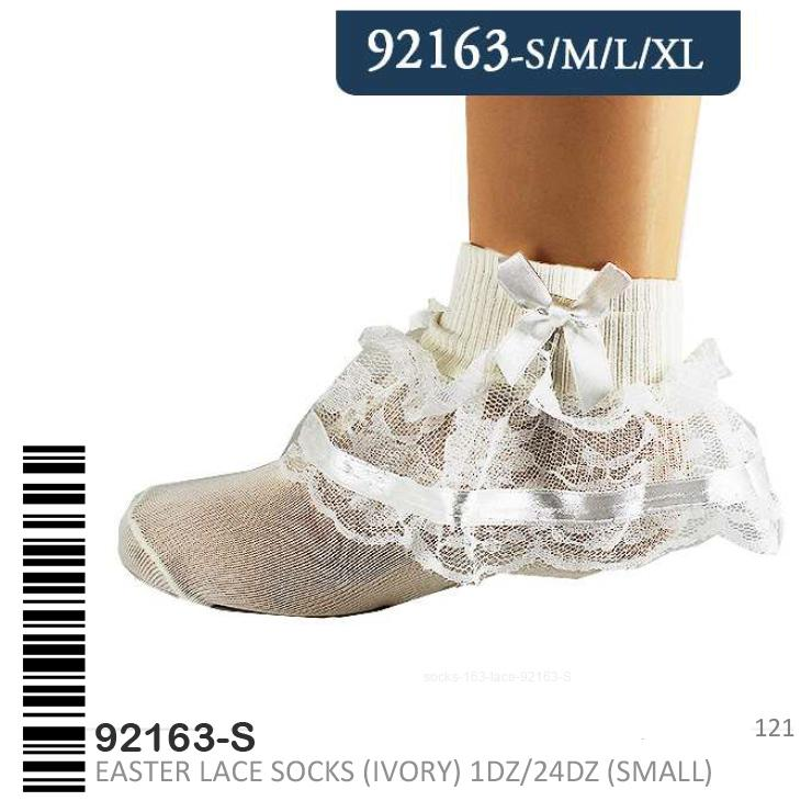 Stylian Girls Lace Socks Ivory S/M/L/XL #92163 (12PC)