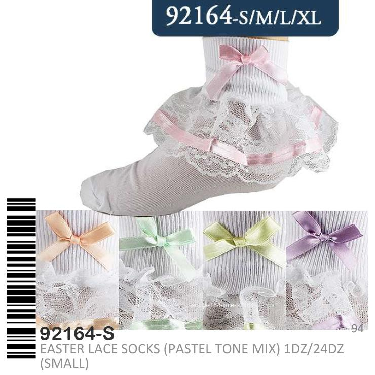 Stylian Girls Lace Socks Pastel Tone S/M/L/XL #92164 (12PC)