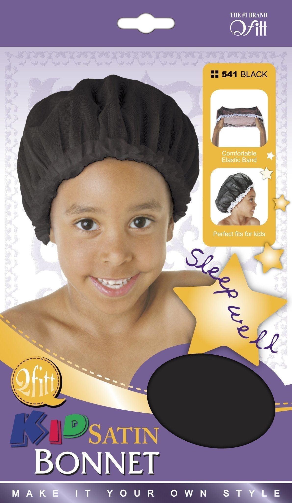 #541 Kid Satin Bonnet / Black (Dz)