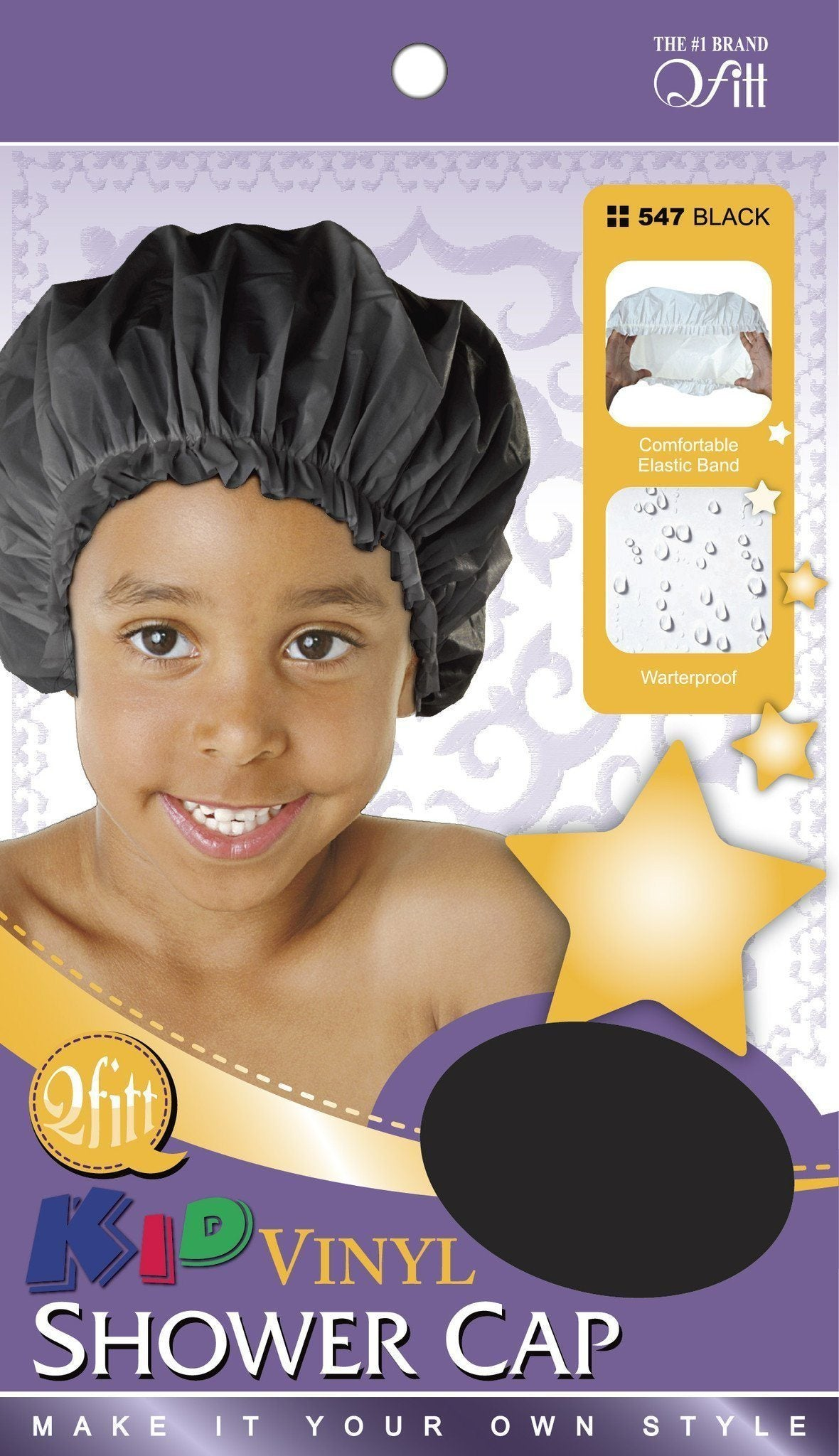 #547 Kid Vinyl Shower Cap / Black (Dz)