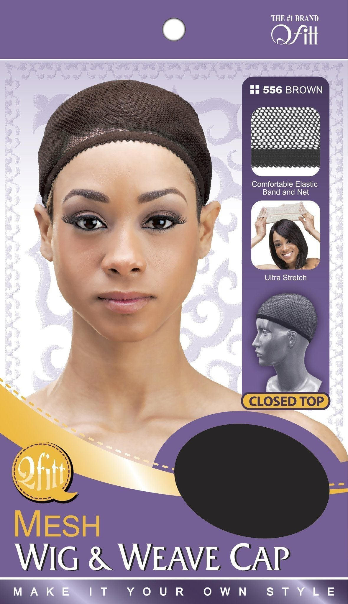 #556 Mesh Wig & Weave Cap Closed Top / Brown (Dz)