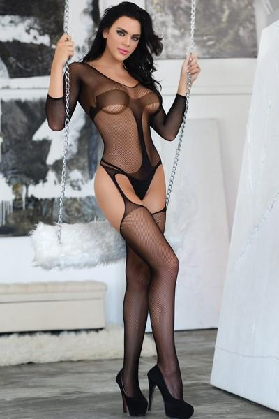 Yelete Women's In Control Fishnet Stripe Bodystocking with Attached Garter Tights #818JT208 (PC)