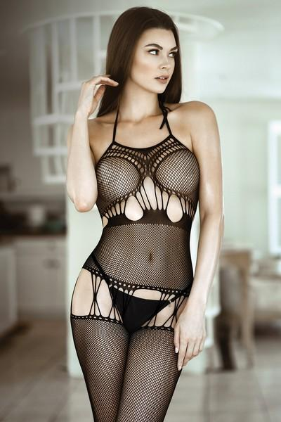 Yelete Women's Cut Out Criss Cross Fishnet Sheer Bodystocking #818JT214 (PC)