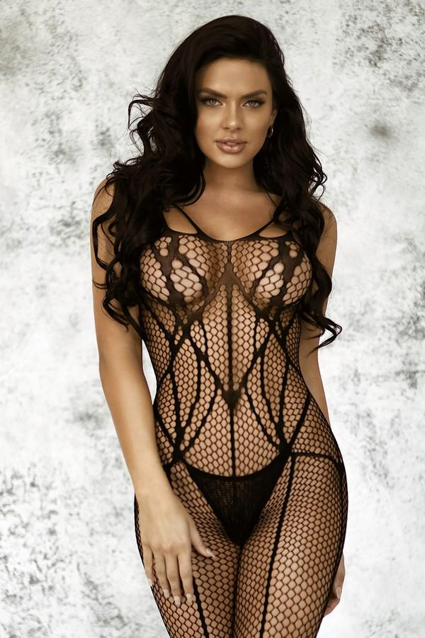 Yelete Women's Reveal Striped Design Fishnet Bodystocking #818JT240 (PC)