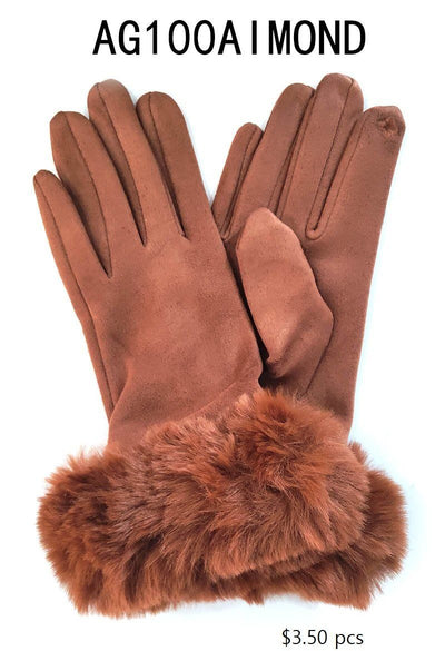 Fashion Collection Faux Fur Suede Gloves #AG100 (PC)