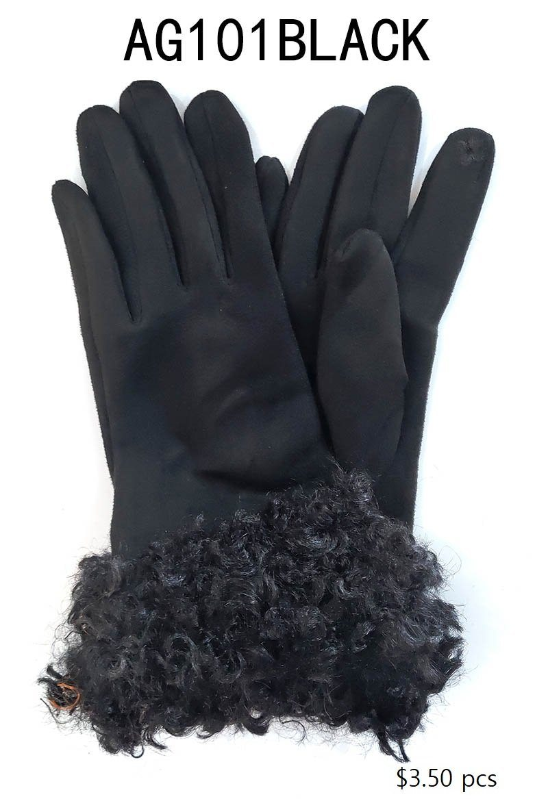 Fashion Collection Faux Fur Suede Gloves #AG101 (PC)