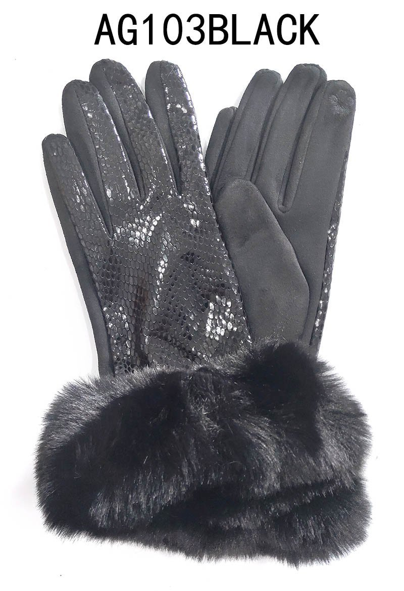 Fashion Collection Snake Suede Fabric Gloves #AG103 (PC)