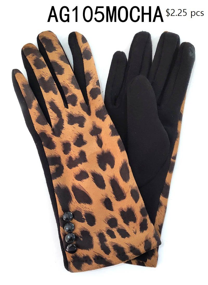 Fashion Collection Leopard Gloves #AG105 (PC)