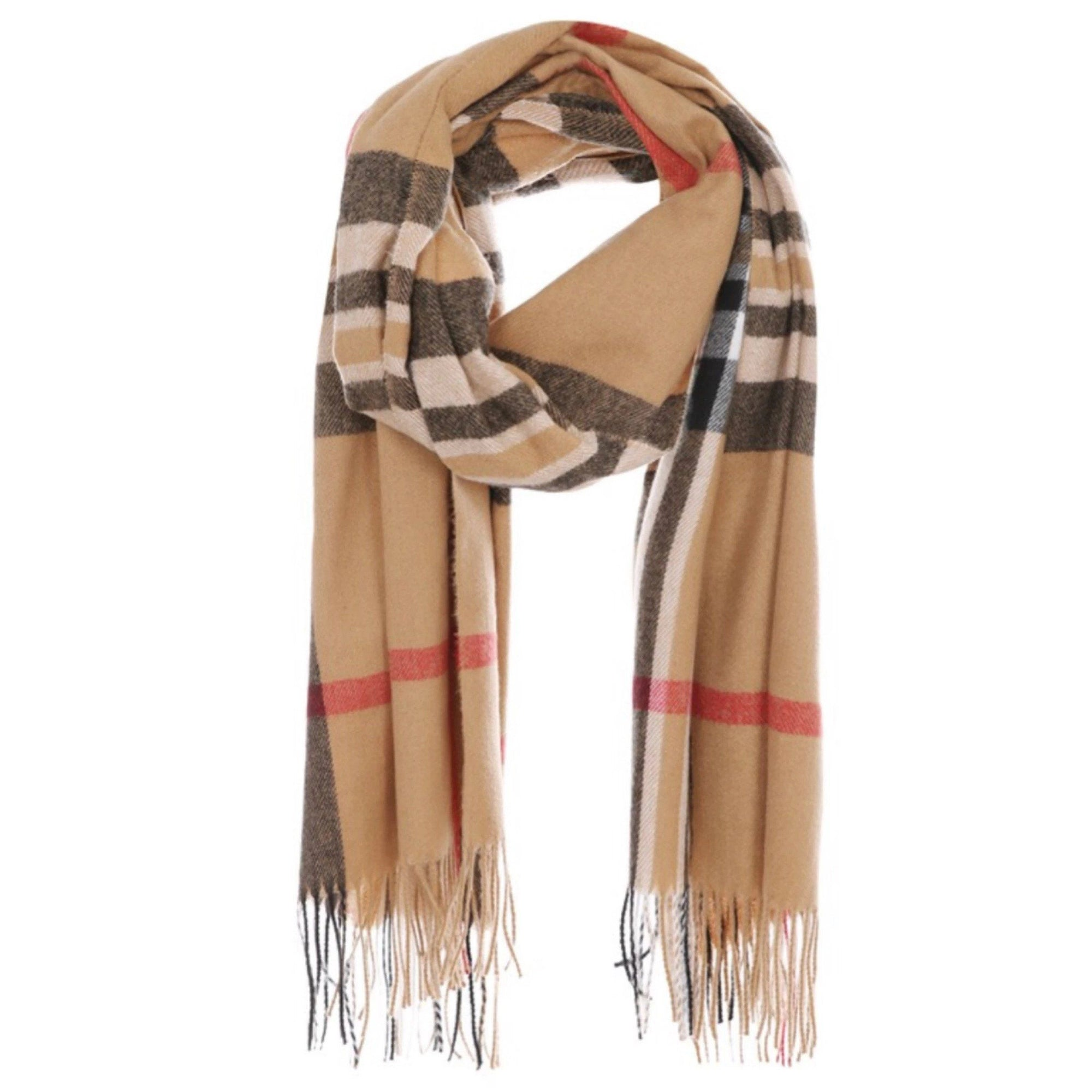 A&O International Modern Check Long Scarf With Fringe #AO5003 (PC)