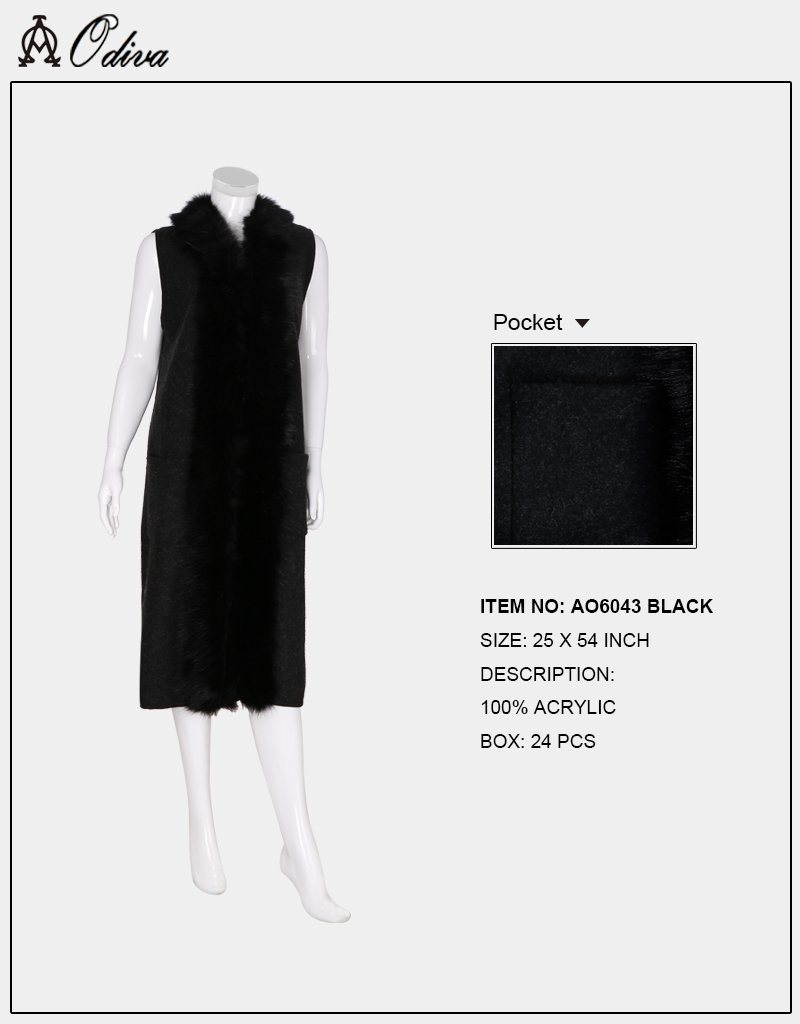 A&O International Long Vest With Fur & Pocket #AO6043 (PC)