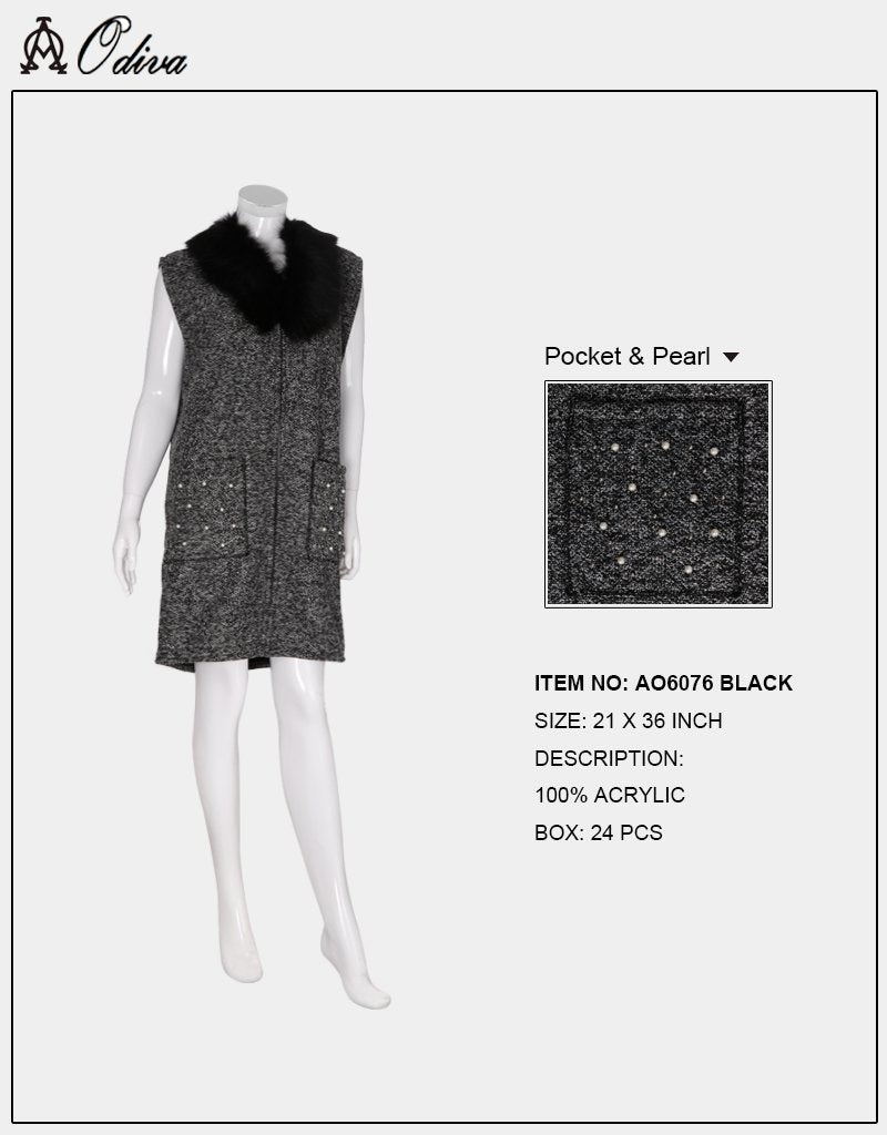 A&O International Warm Mid length Vest With Fur, Pocket, & Pearl #AO6076 (PC)
