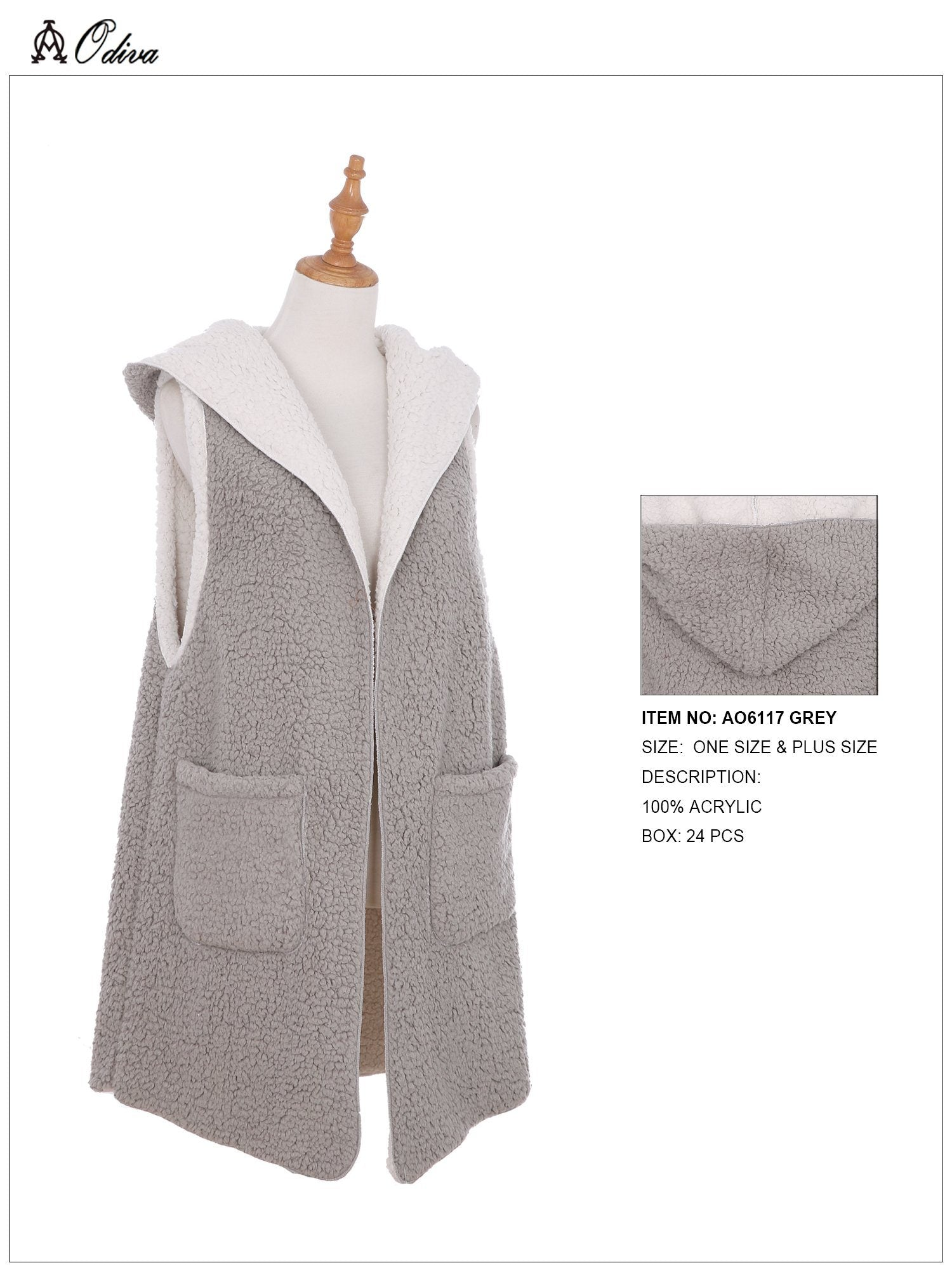 A&O International Hooded Vest With Pockets #AO6117 (PC)