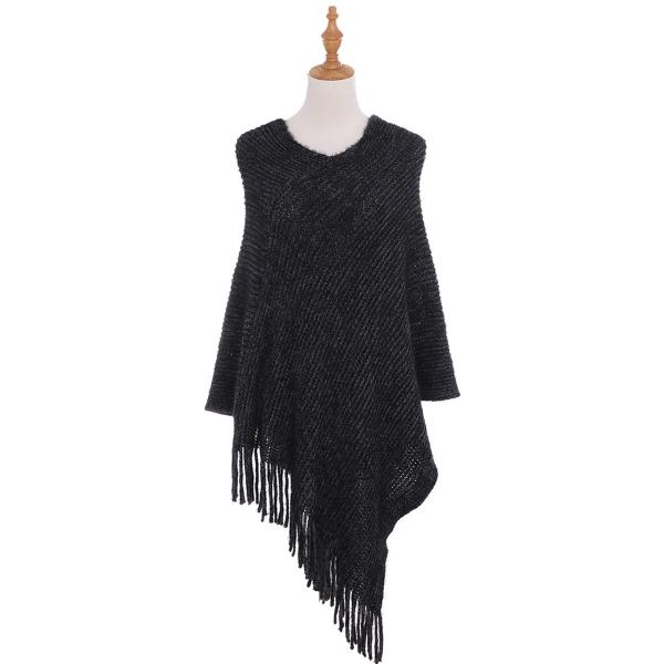 A&O International Solid Fringed Poncho #AO6132 (PC)