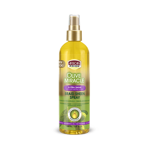 African Pride Olive Miracle Extra Shine Braid Sheen Spray 12oz