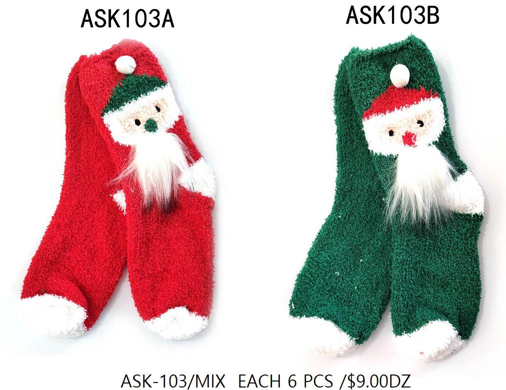 Fashion Collection X-Mas Socks #ASK103MIX (12PC)