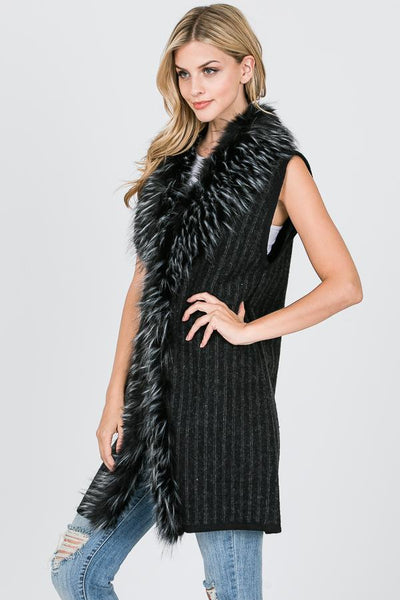 Fashion Collection Long Ribed Fur Vest  #AV286 (PC)