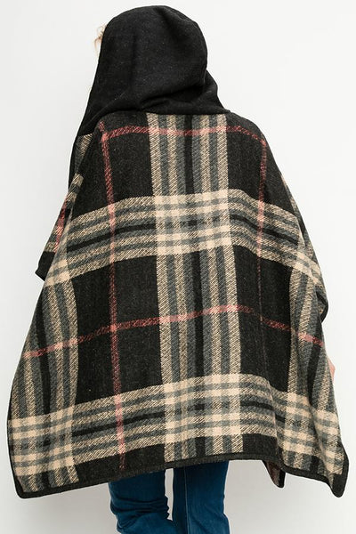 Fashion Collection Plaid Zip-Up Poncho #AV354 (PC)