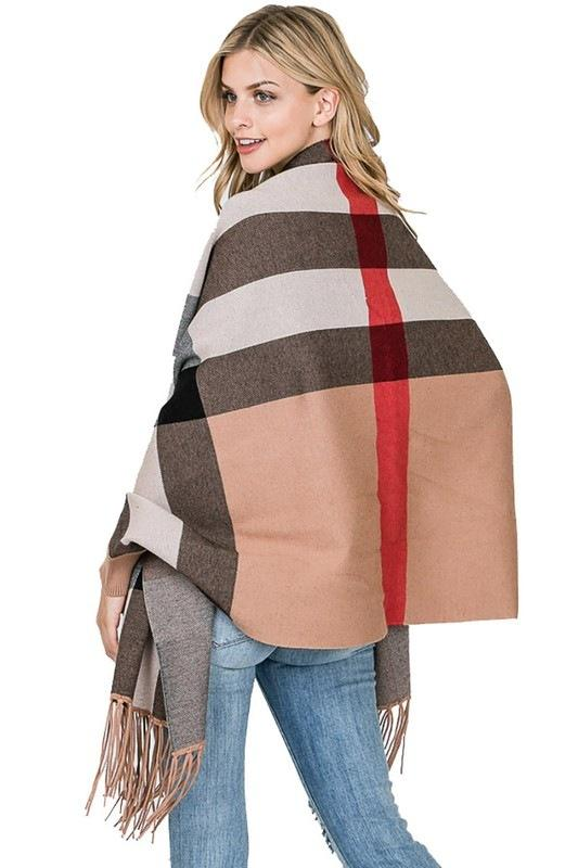 Fashion Collection Fancy Plaid Pattern Tassel Poncho #AV312 (PC)
