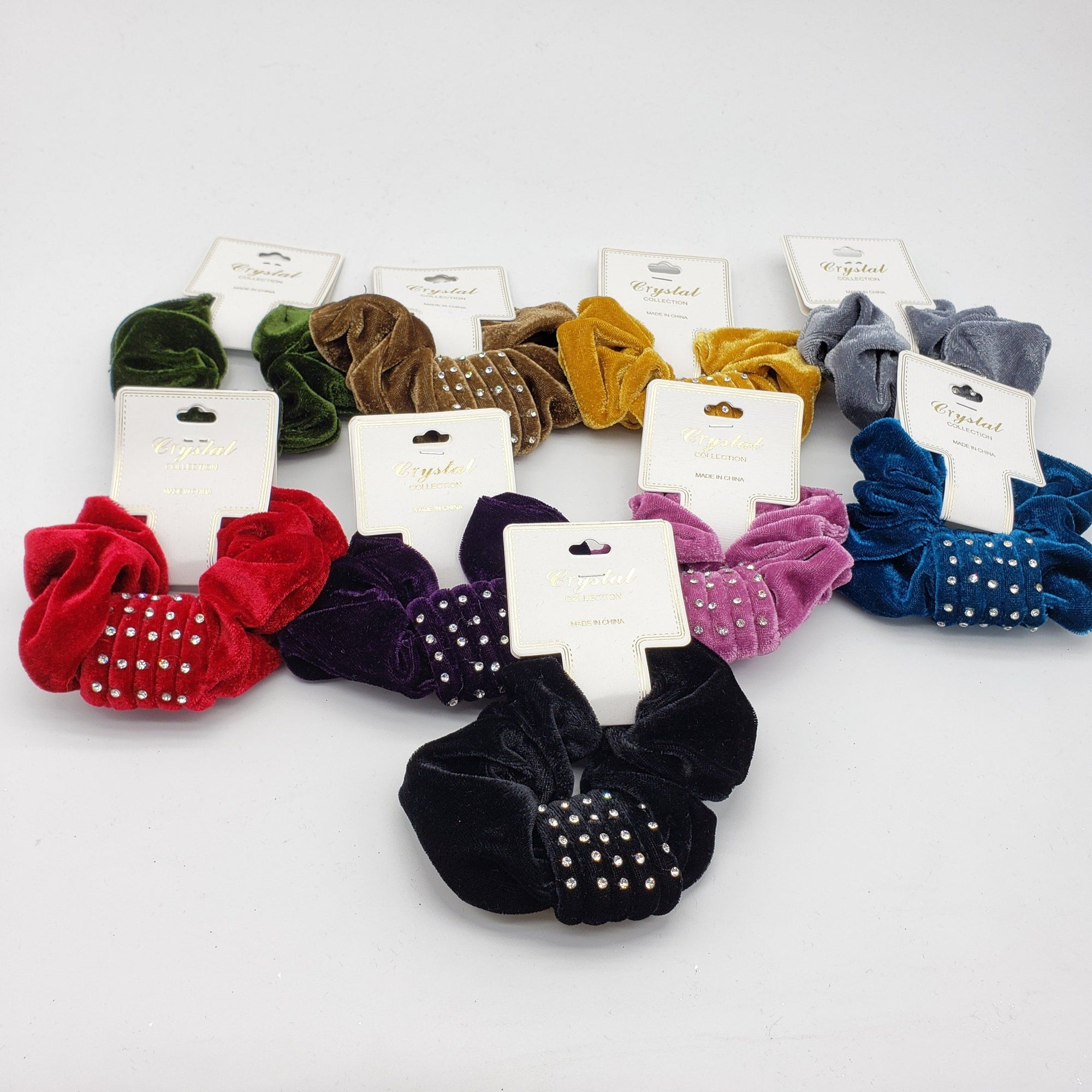 Crystal Collection Velvet Rhinestone Scrunchies Assort #DHP0286F (12PC)