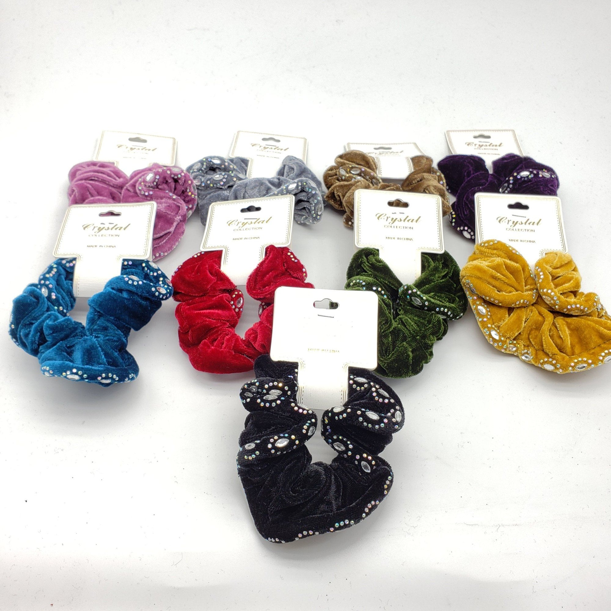 Crystal Collection Velvet Rhinestone Scrunchies Assort #DHP0288F (12PC)