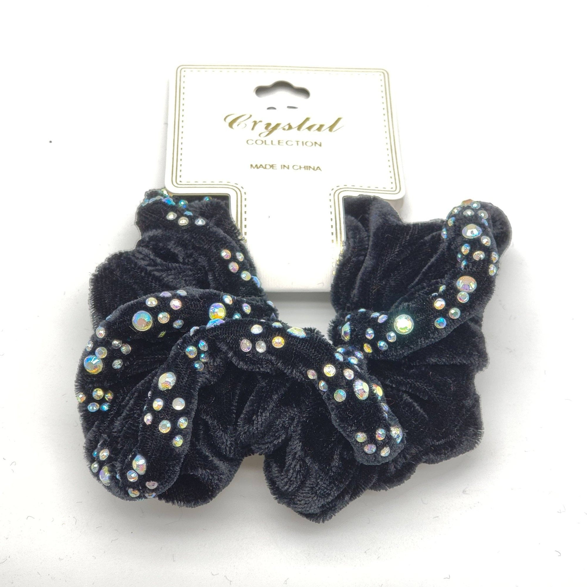 Crystal Collection Velvet Rhinestone Scrunchies #DHP0289B (12PC)