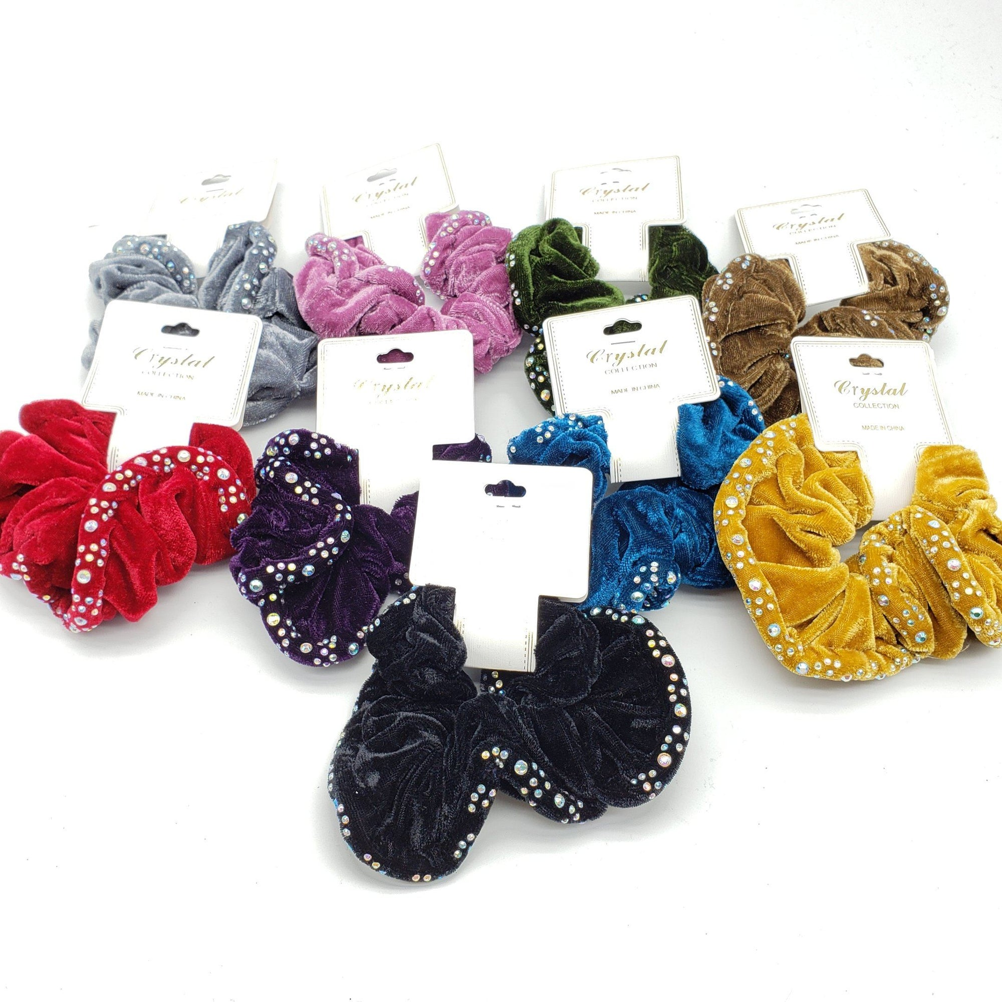 Crystal Collection Velvet Rhinestone Scrunchies Assort #DHP0289F (12PC)