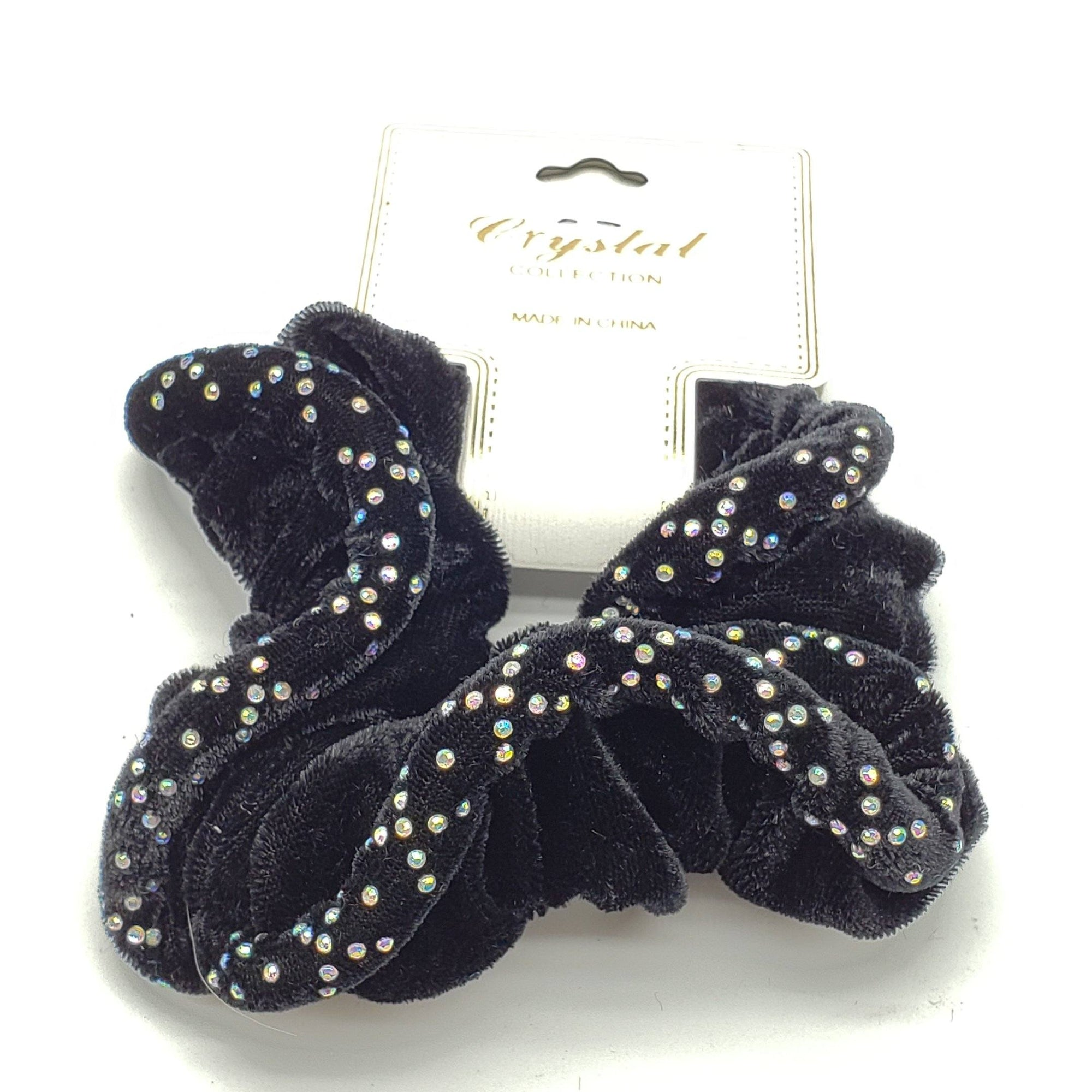 Crystal Collection Velvet Rhinestone Scrunchies #DHP0290B (12PC)