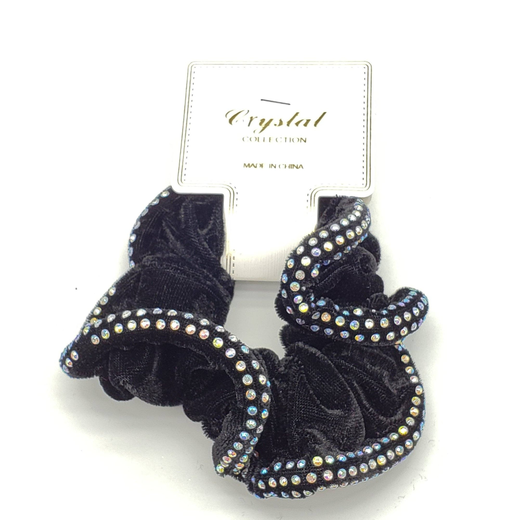 Crystal Collection Velvet Rhinestone Scrunchies #DHP0291B (12PC)