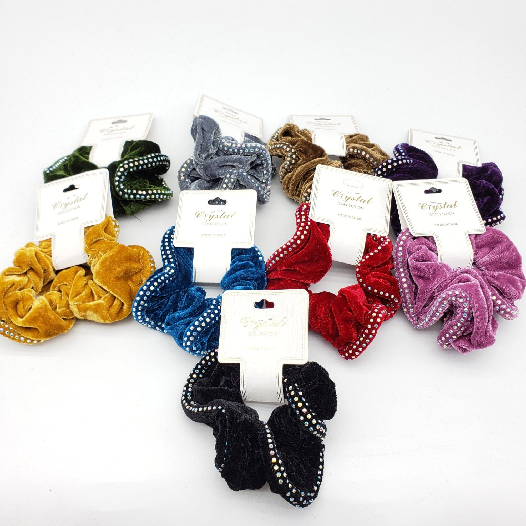 Crystal Collection Velvet Rhinestone Scrunchies Assort #DHP0291F (12PC)