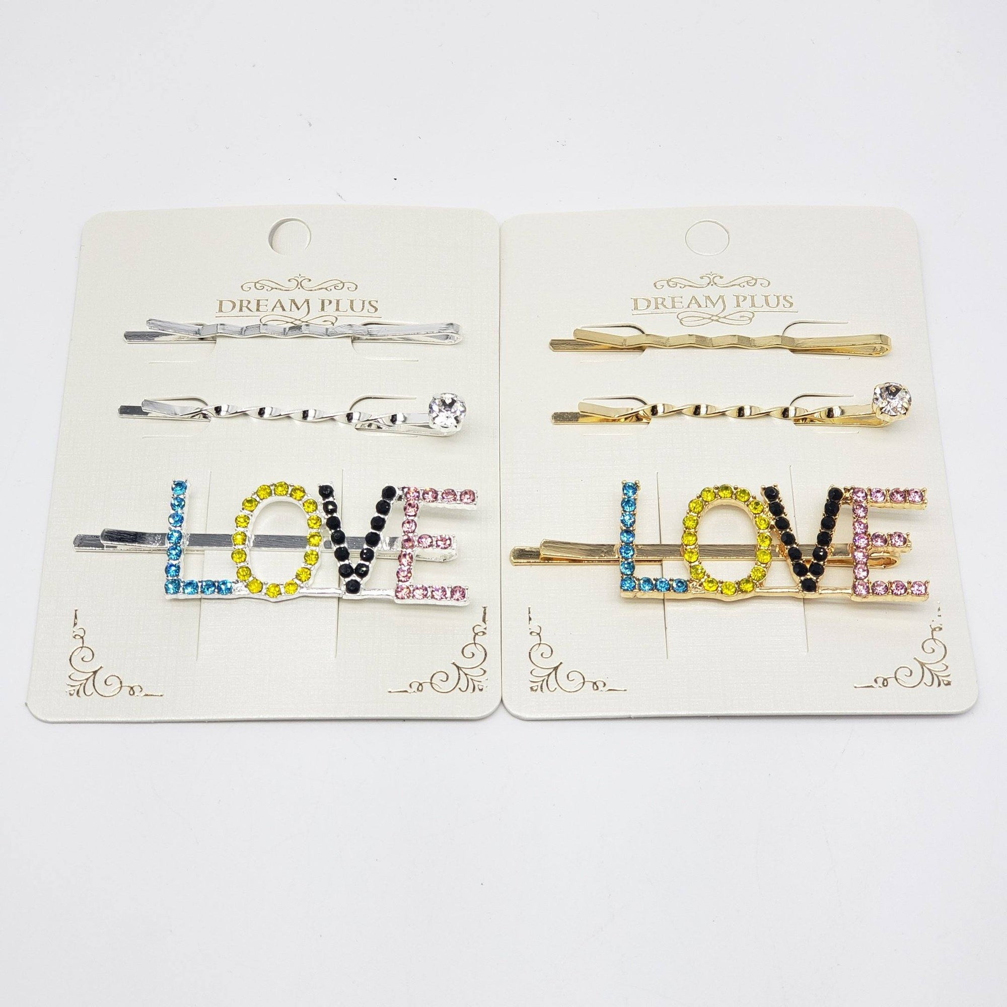 Dream Plus Gold and Silver Multicolor LOVE Hair Pins #DHP498GS-MT (12PC)