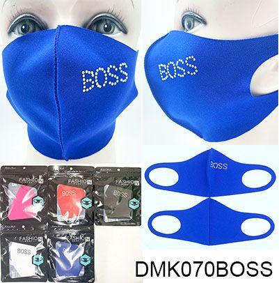 Polyester/Rhinestone Face Mask Assort / BOSS #DMK070BOSS (12PC)