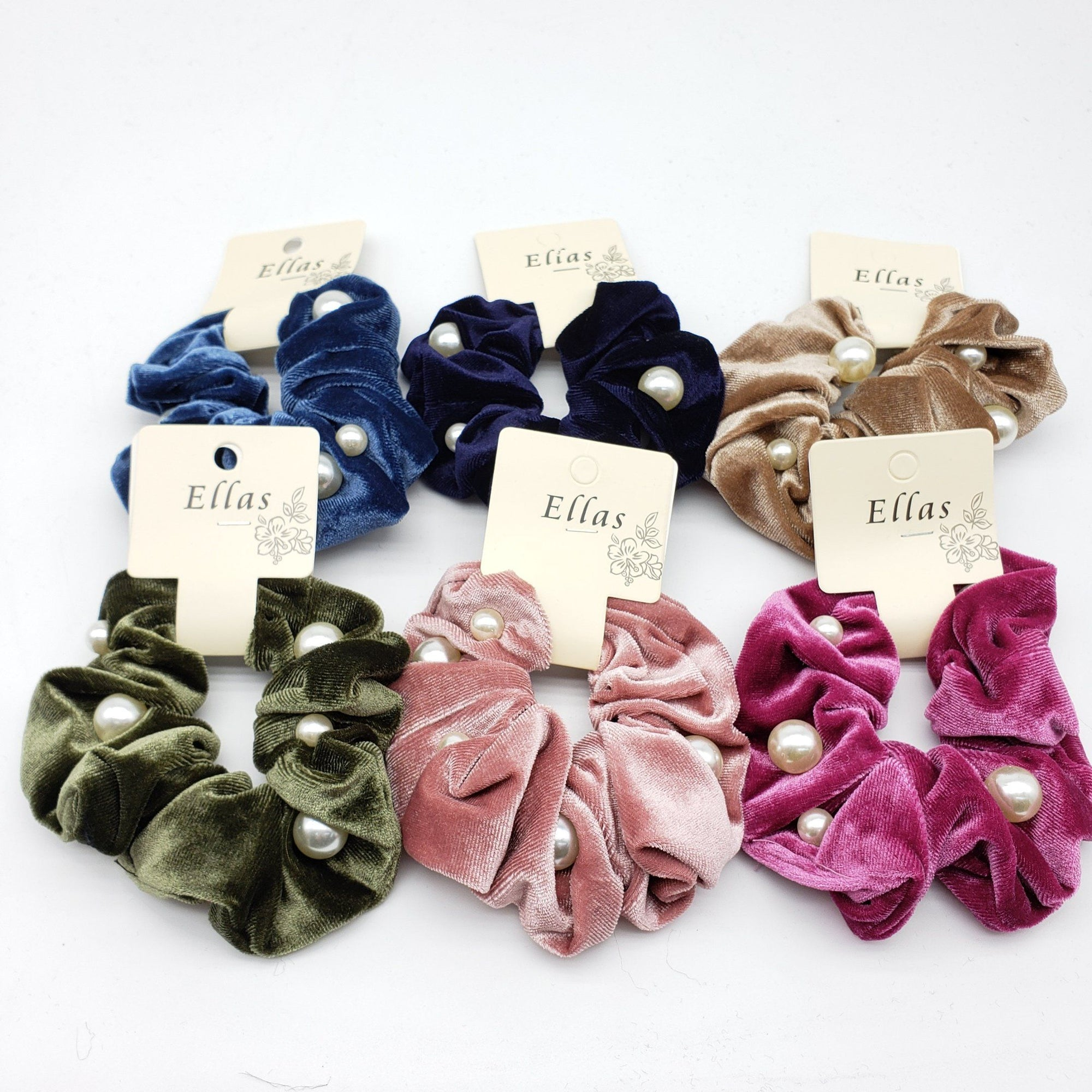 Ellas Velvet Pearl Scrunchies Assort #ETW1506BT (12PC)