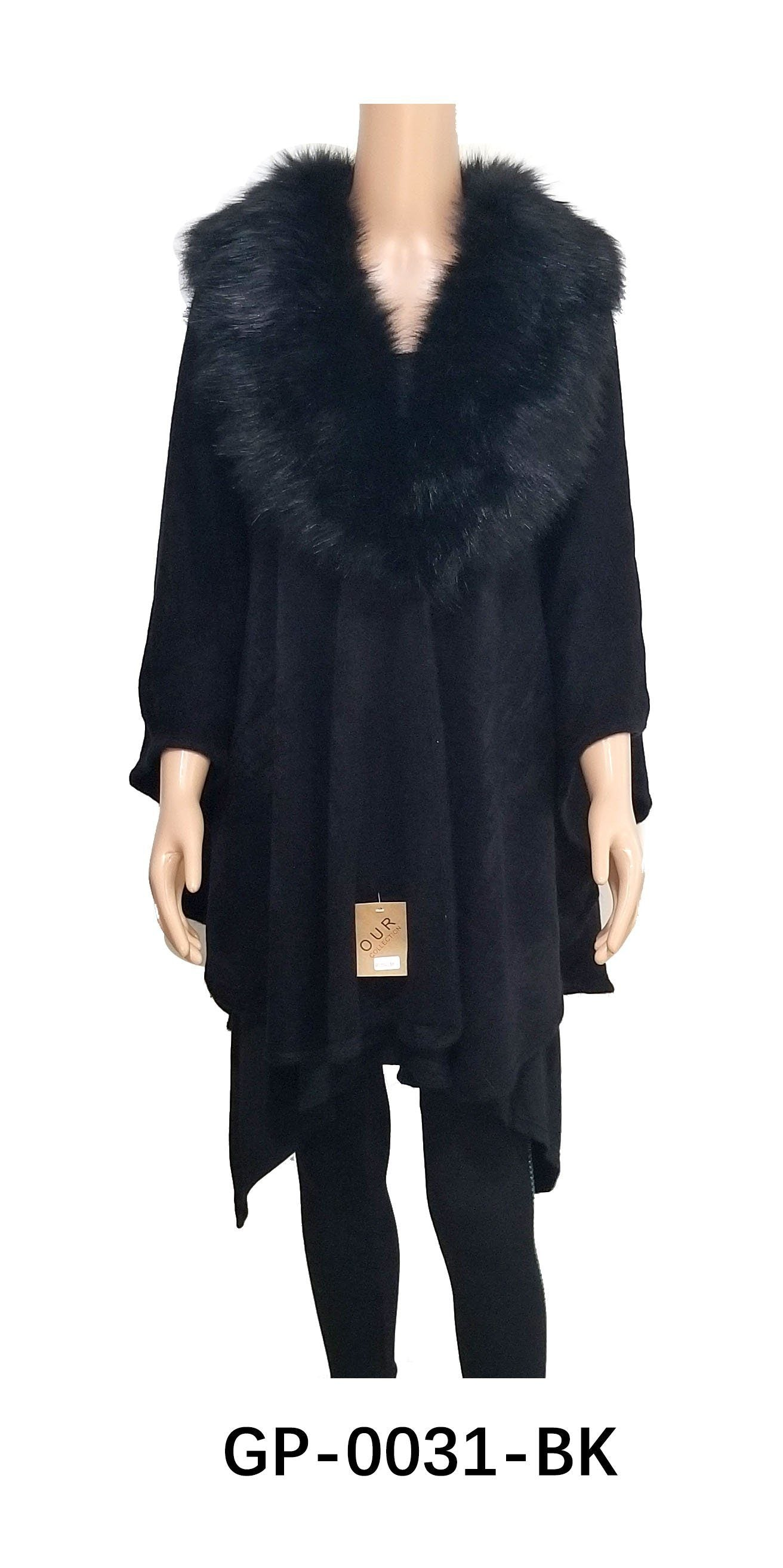 Fur Collar Cardigan Black #GP0031 (PC)