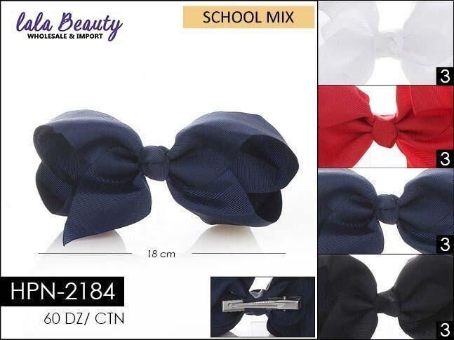 Large Hair Bow #HPN2184 School Mix (Dozen)