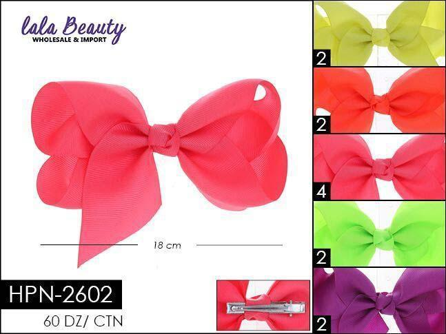 Large Hair Bow #HPN2602 Neon Mix (Dozen)