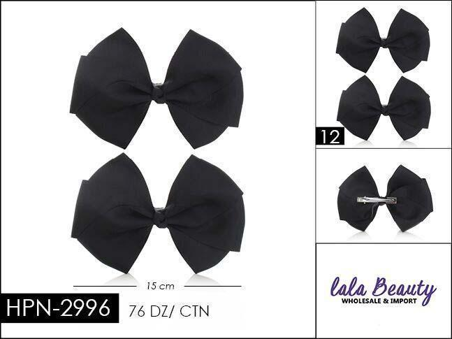 Flat Hair Bow #HPN2996 Black (2 Dozen)