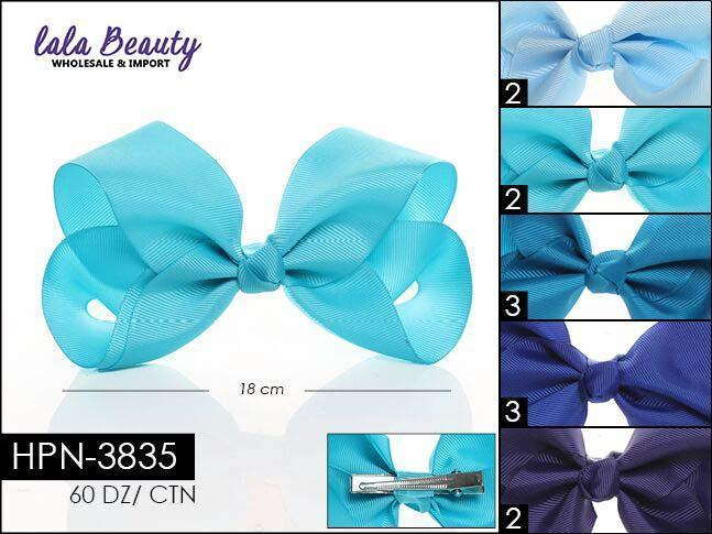 Large Hair Bow #HPN3835 Blue Mix (Dozen)