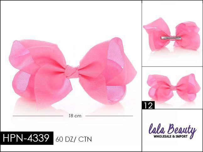 Large Hair Bow #HPN4339 Light Pink (Dozen)