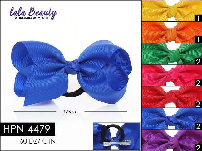 Large Hair Bow #HPN4479 Bright Mix Hair Tie (Dozen)