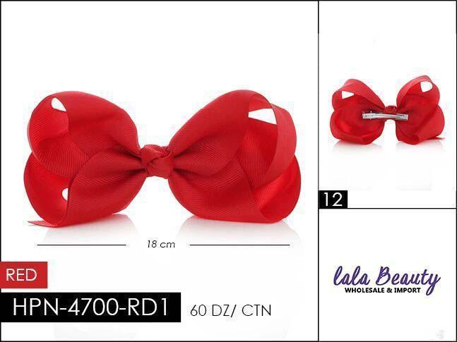 Large Hair Bow #HPN2194 Red (Dozen)