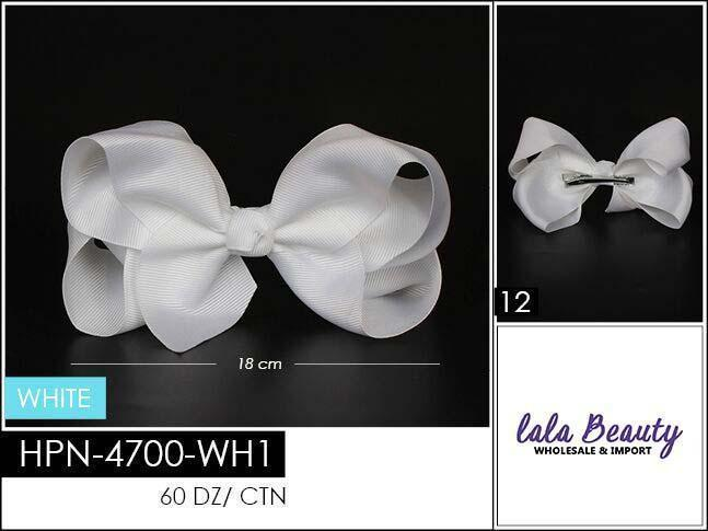 Large Hair Bow #HPN2188 White (Dozen)