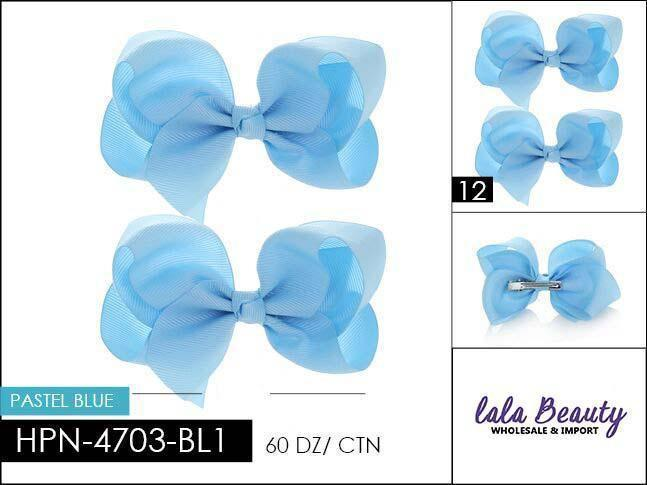 Small Hair Bow #HPN4703-BL1 Pastel Blue (2 Dozen)