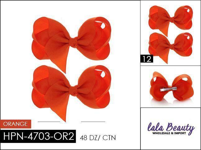 Small Hair Bow #HPN4703-OR2 Orange (2 Dozen)