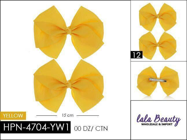 Flat Hair Bow #HPN4704-YW1 Yellow (2 Dozen)