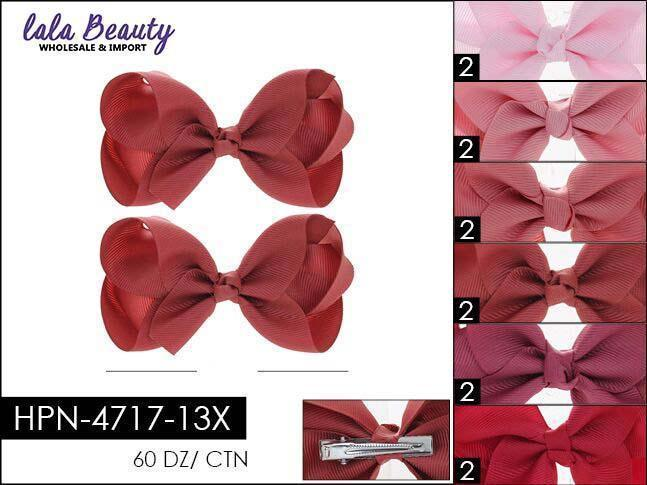 Small Hair Bow #HPN4717-13X Dark Red Mix (2 Dozen)
