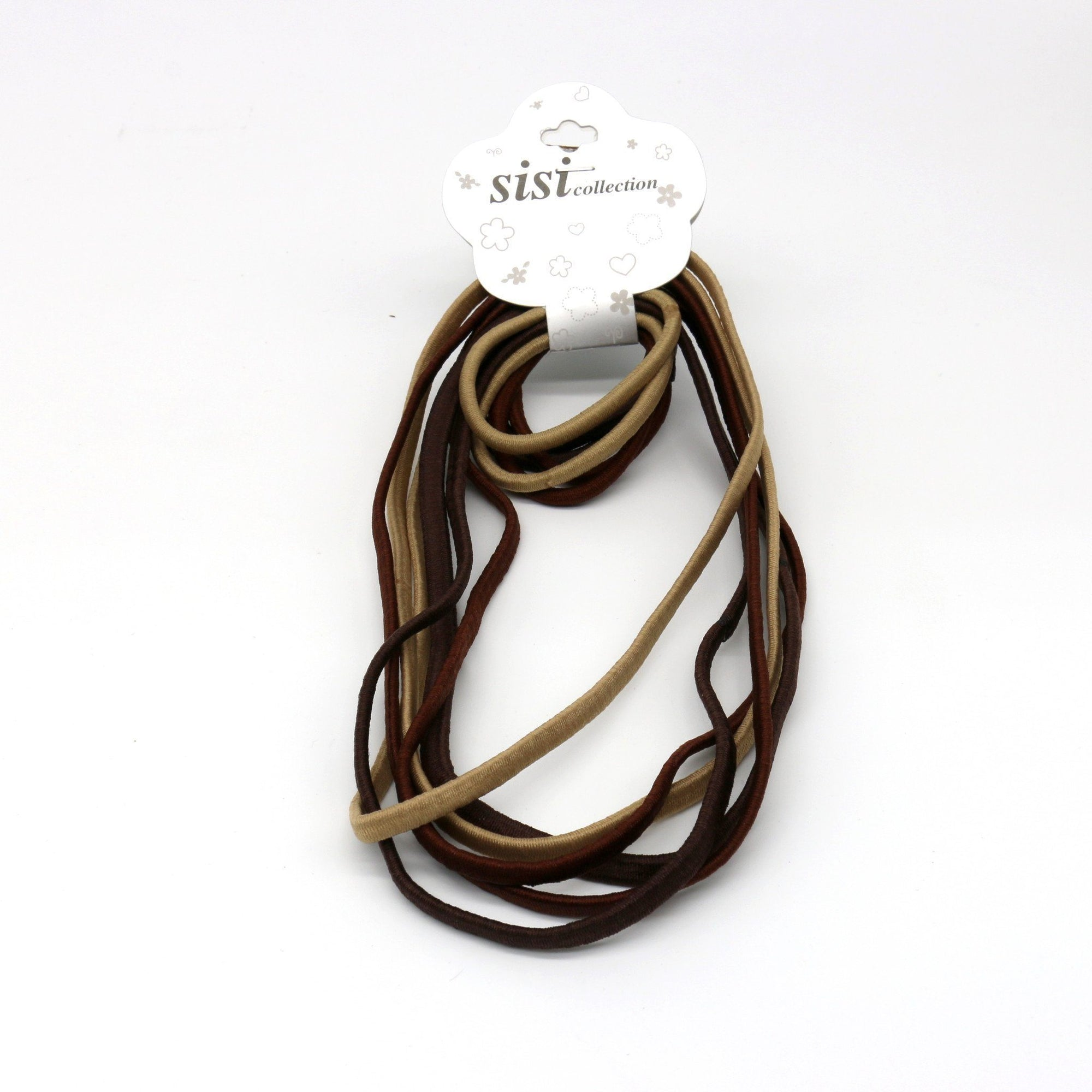 #EPT377BR Thin Asst Brown Elastic Head Band & Rubber Band (DZ)