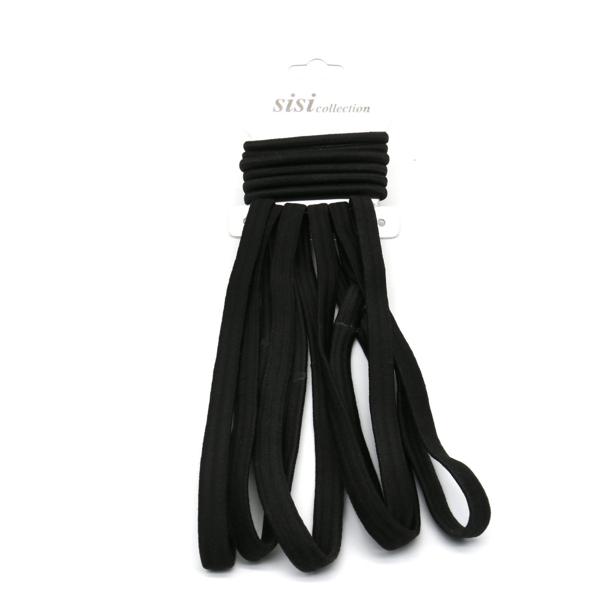 #EHW336K Black Thick Elastic Head Band / Rubber Band (DZ)